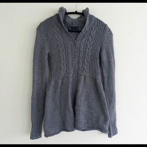 ZARA CABLE KNIT HOODED CARDIGAN